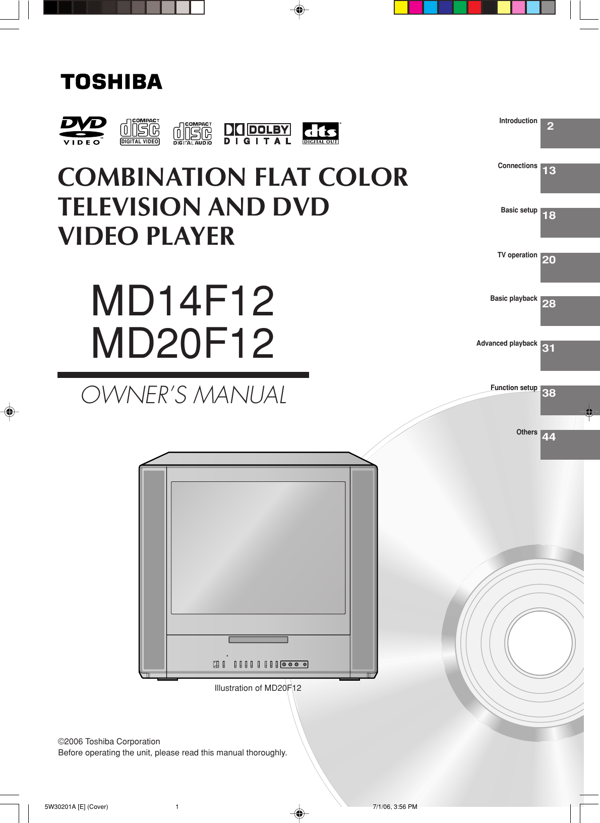 Toshiba Md14F12 Owners Manual 5W30201A [E] (Cover)