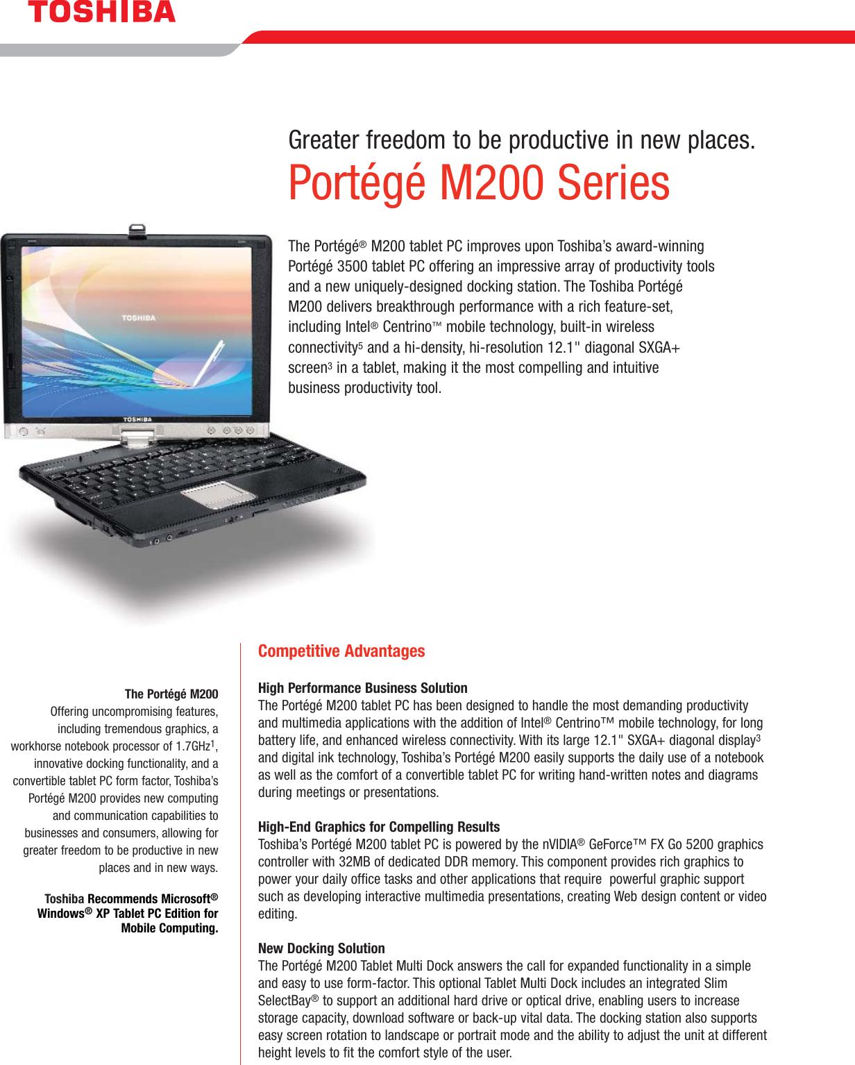 Toshiba Portege 3500 Specification Sheet M200 series data