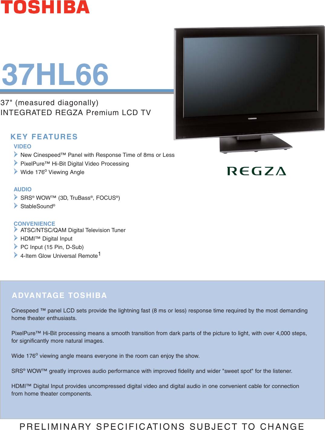 Toshiba Regza 37Hl66 Users Manual 37HL66sell