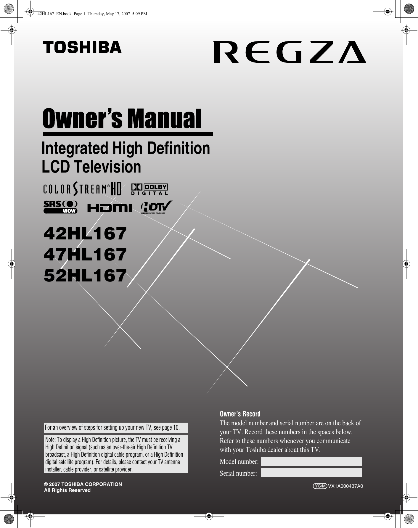 Toshiba regza 42hl167 owners manual ccuart Gallery