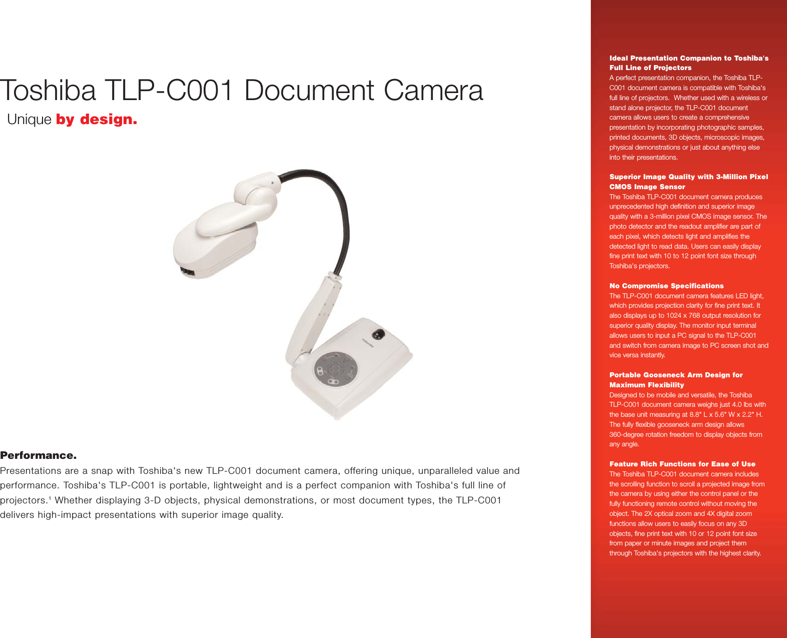 Toshiba TLP C001 Data Sheet qxp If Not Then Projectors