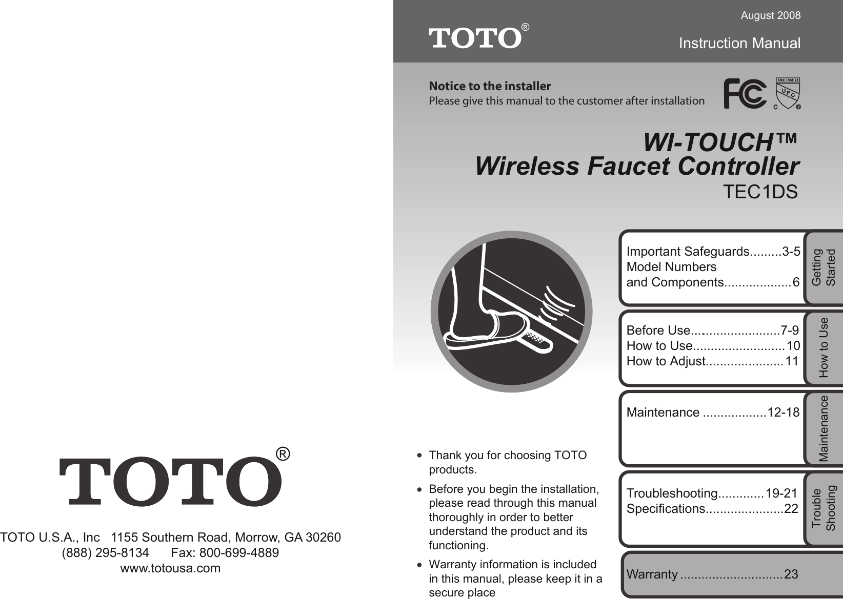 Toto USA TEC1DS Wireless Faucet Controller User Manual TES33 TES34 ...