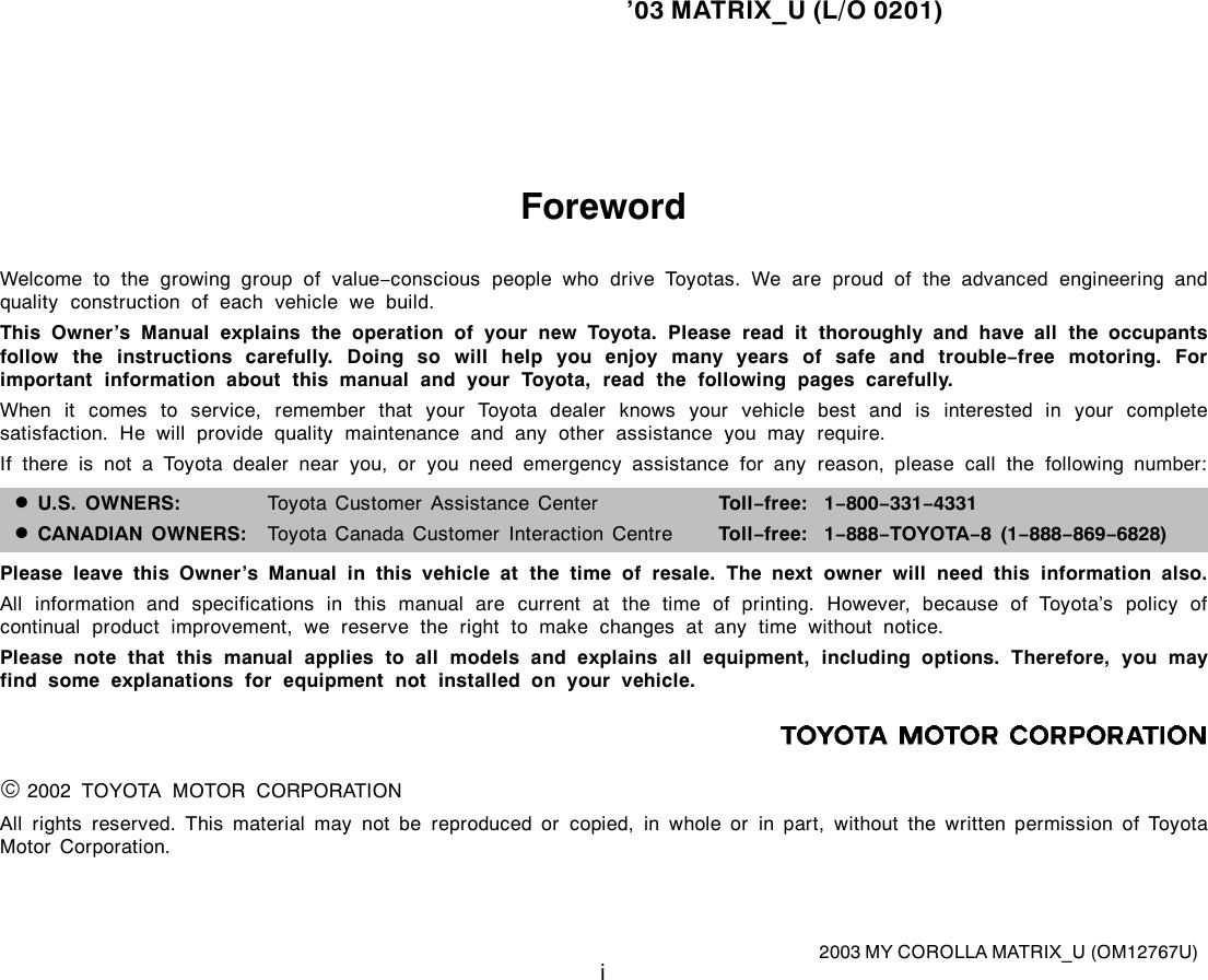 Toyota 2003 Matrix Owners Manual