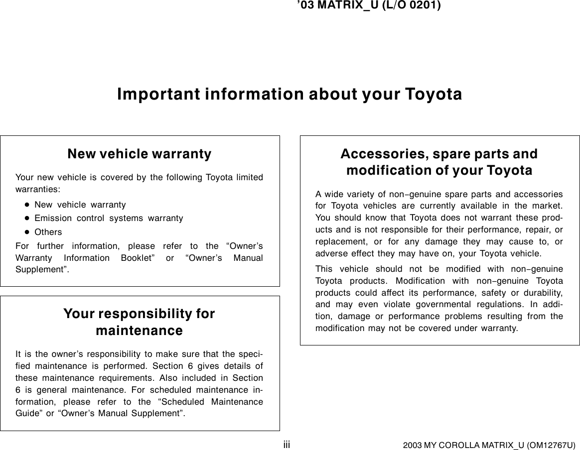 Car Manuals & Literature Other Car Manuals 2003 Toyota Scheduled ...