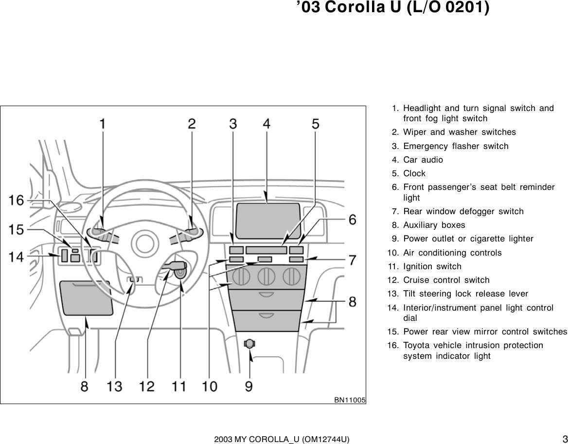 Toyota 2003 Corolla Owners Manual 1