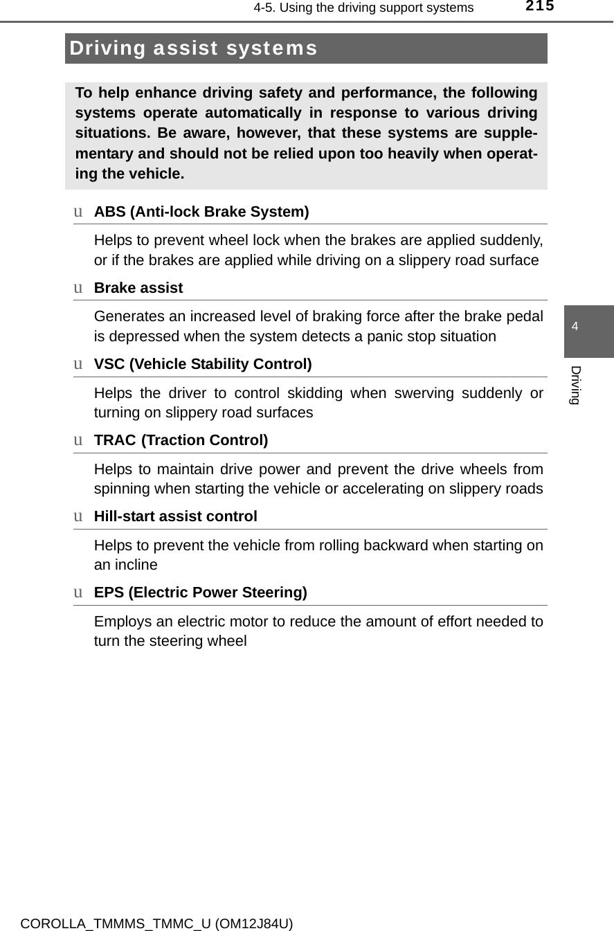 Toyota 2016 Corolla Owners Manual