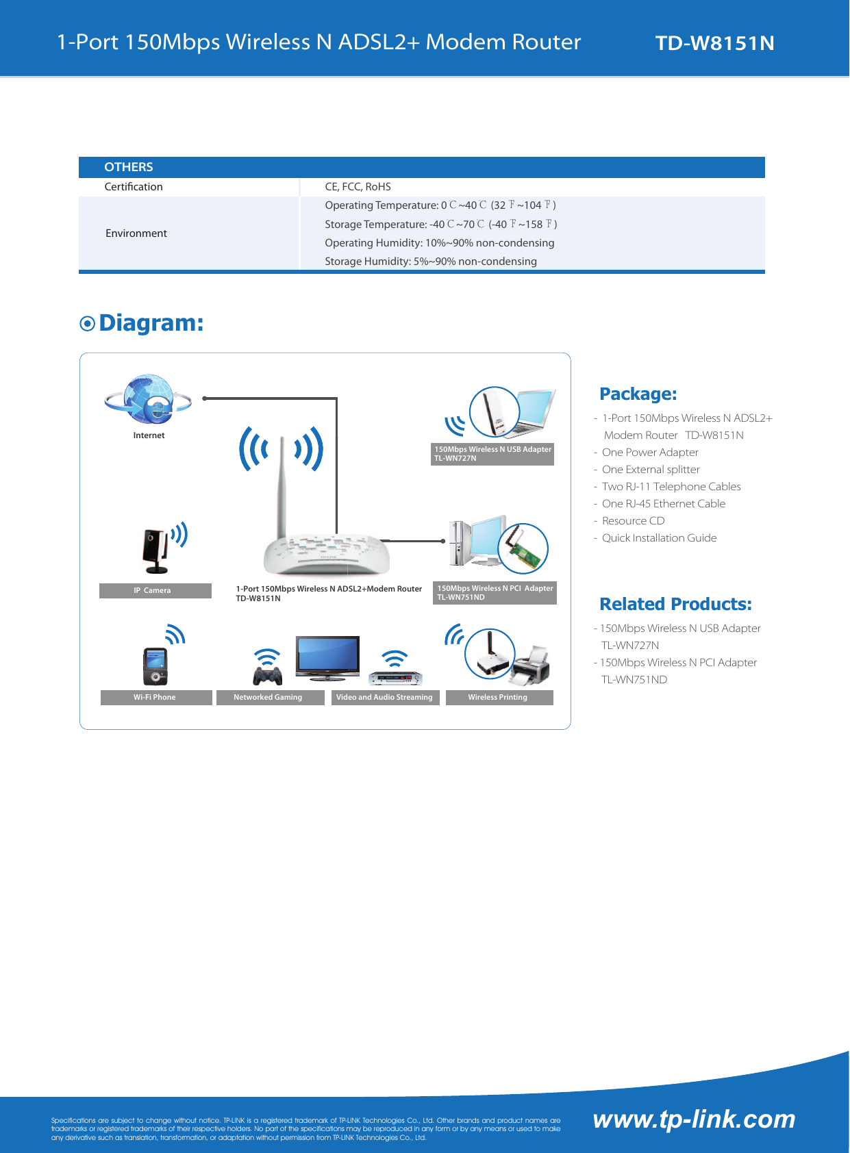 Td W8151nun40 W8151n V4 Datasheet 150mbps Wireless N Adsl2 Modem Router Page 3 Of