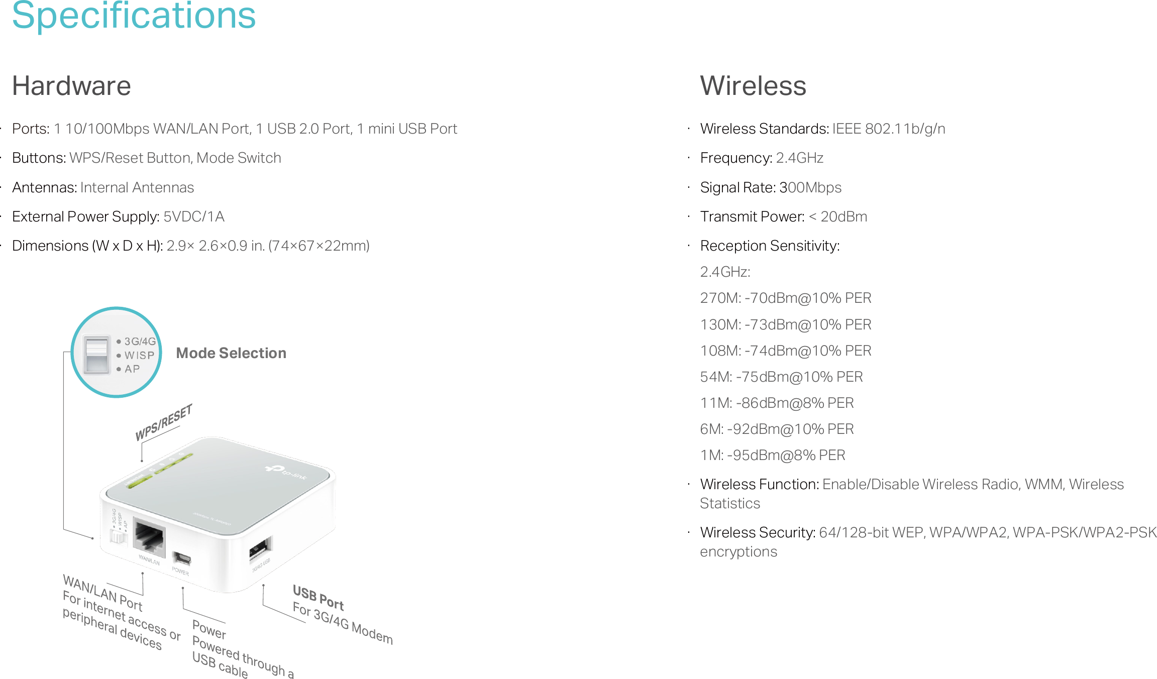 Tl Mr3020eu V3 Datasheet Tp Link Mr3020 Portable 3g 4g Wireless N Router Page 4 Of 5