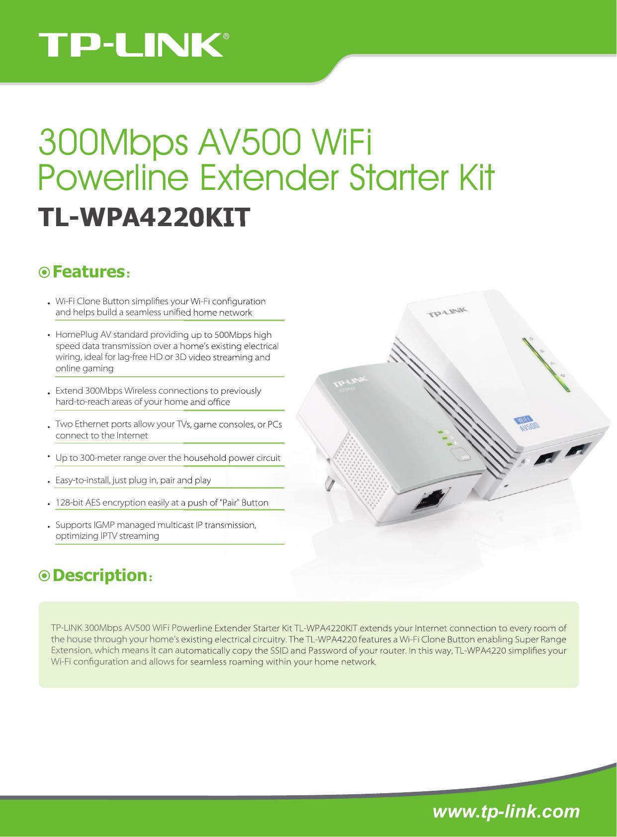 Page 1 of 2 - TL-WPA4220KIT(AU) 1.0  TL-WPA4220KIT(AU V1 Datasheet