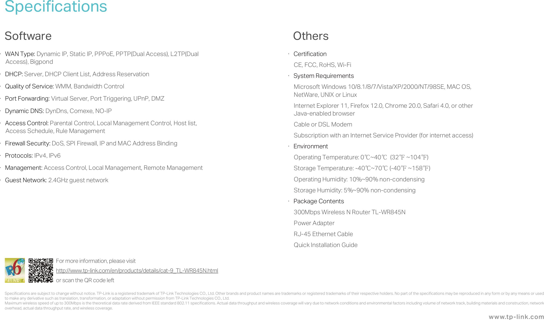 TL WR845N(EU)(US) V3 Datasheet