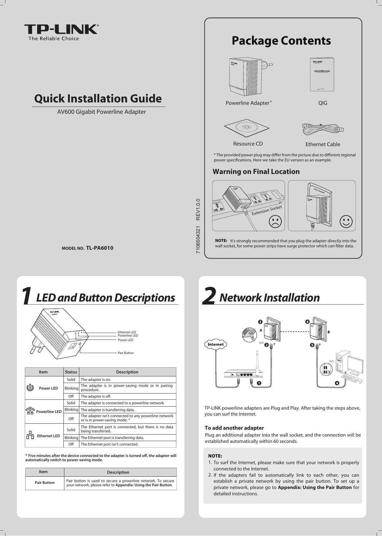 Tp Link Av600 Users Manual Tl Pa6010eua Tplink Powerline Diagram