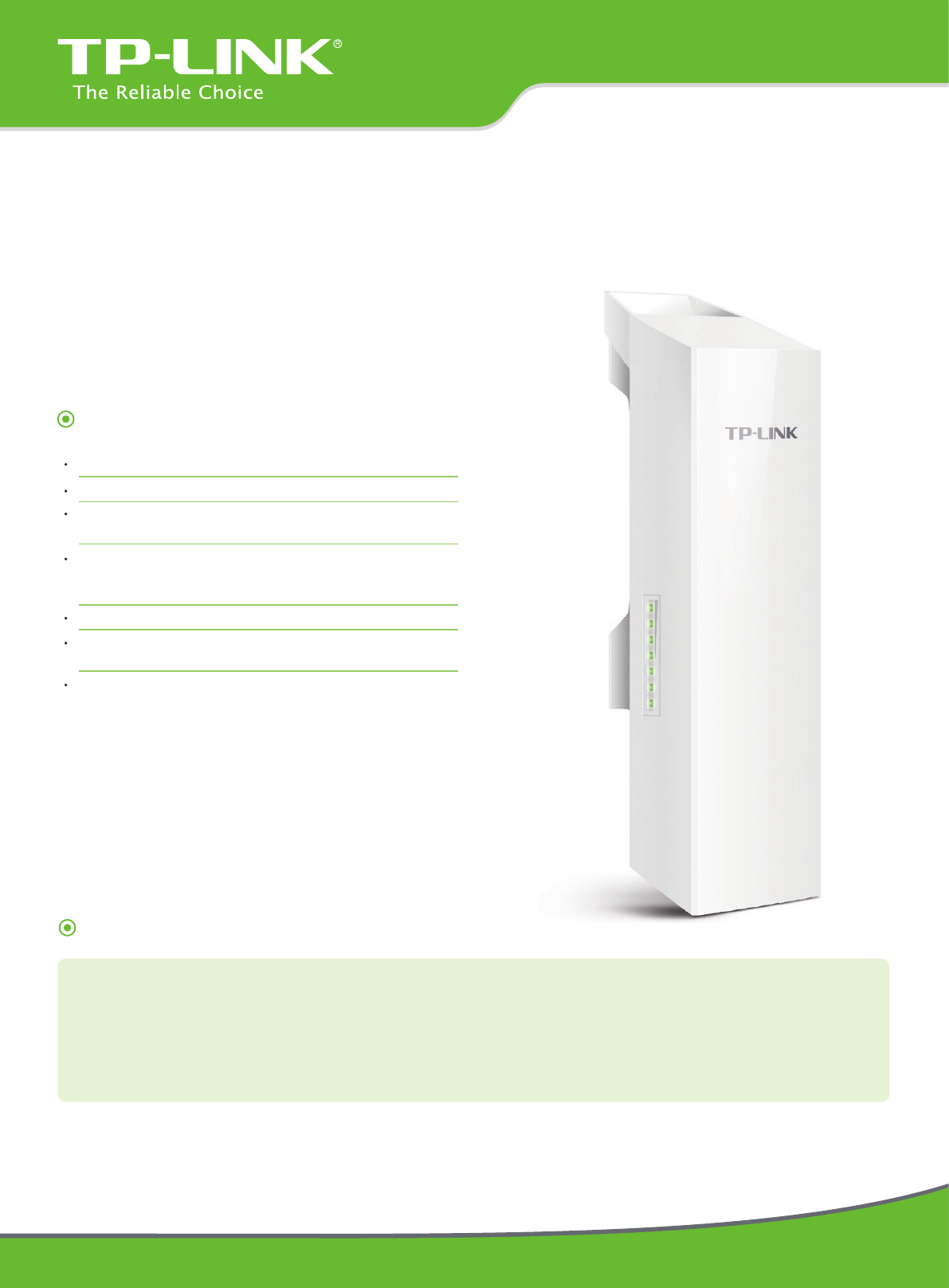 Tp Link Cpe210 Data Sheet V1 Datasheet Acces Point Wifi Tplink 24ghz 300mbps 9dbi Outdoor Cpe