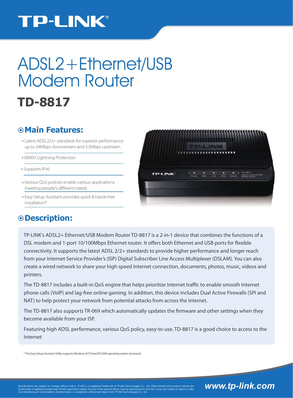TP-LINK TD-8817 V8 ROUTER USB WINDOWS 10 DOWNLOAD DRIVER