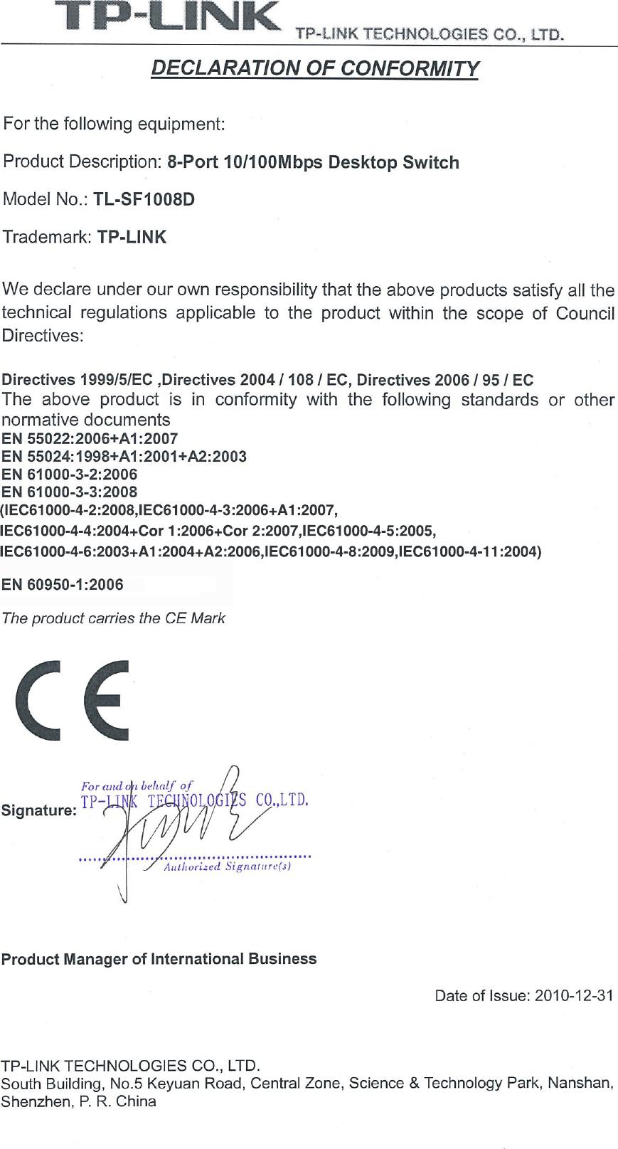 Tp Link Tl Sf1008d V1 Declaration Of Conformity 8port 10 100mbps Desktop Switch