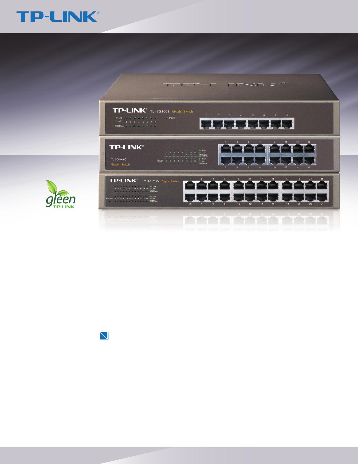 Tp Link Tl Sg1016d V3 Data Sheet Sg1008tl Sg1016dtl Sg1024d Switch 10 100 1000 Mbps Gigabit 24 Port Sg1008 8 16