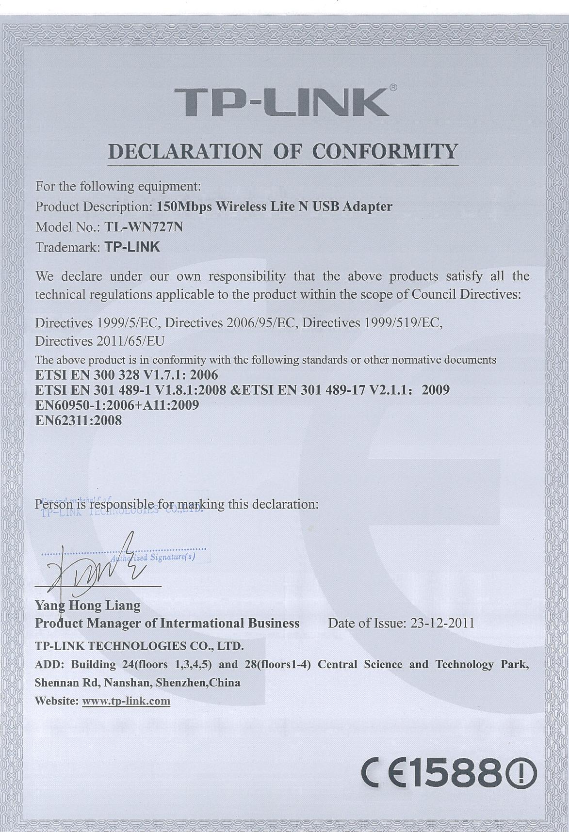 Tp Link Tl Wn727n V3 Declaration Of Conformity Usb Wireless Wn727