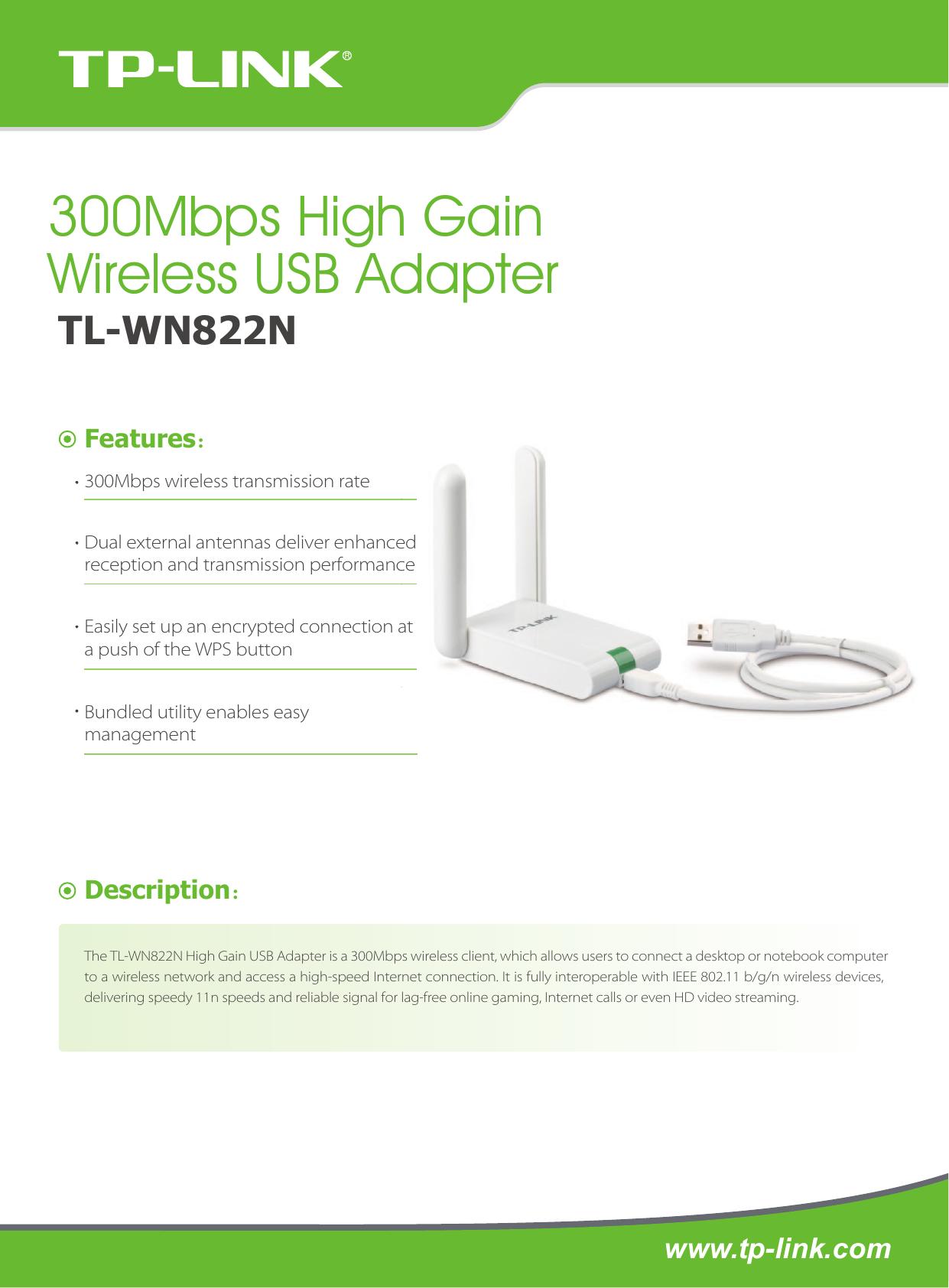 Tp Link Tl Wn822N V3 Data Sheet 3.0