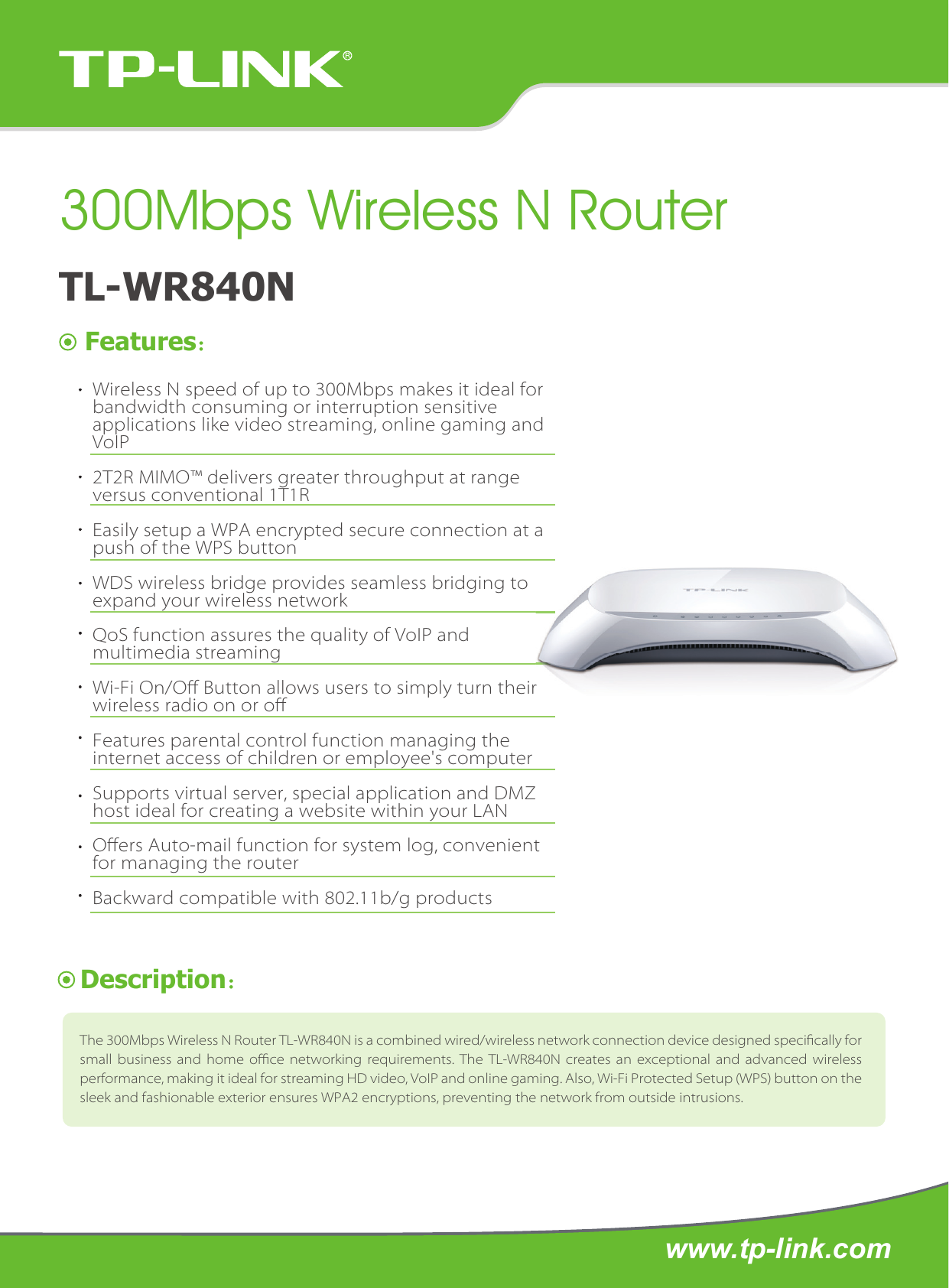 Tp Link Tl Wr840n Data Sheet Wr840nun 10 300mbps Wireless N Router Antena