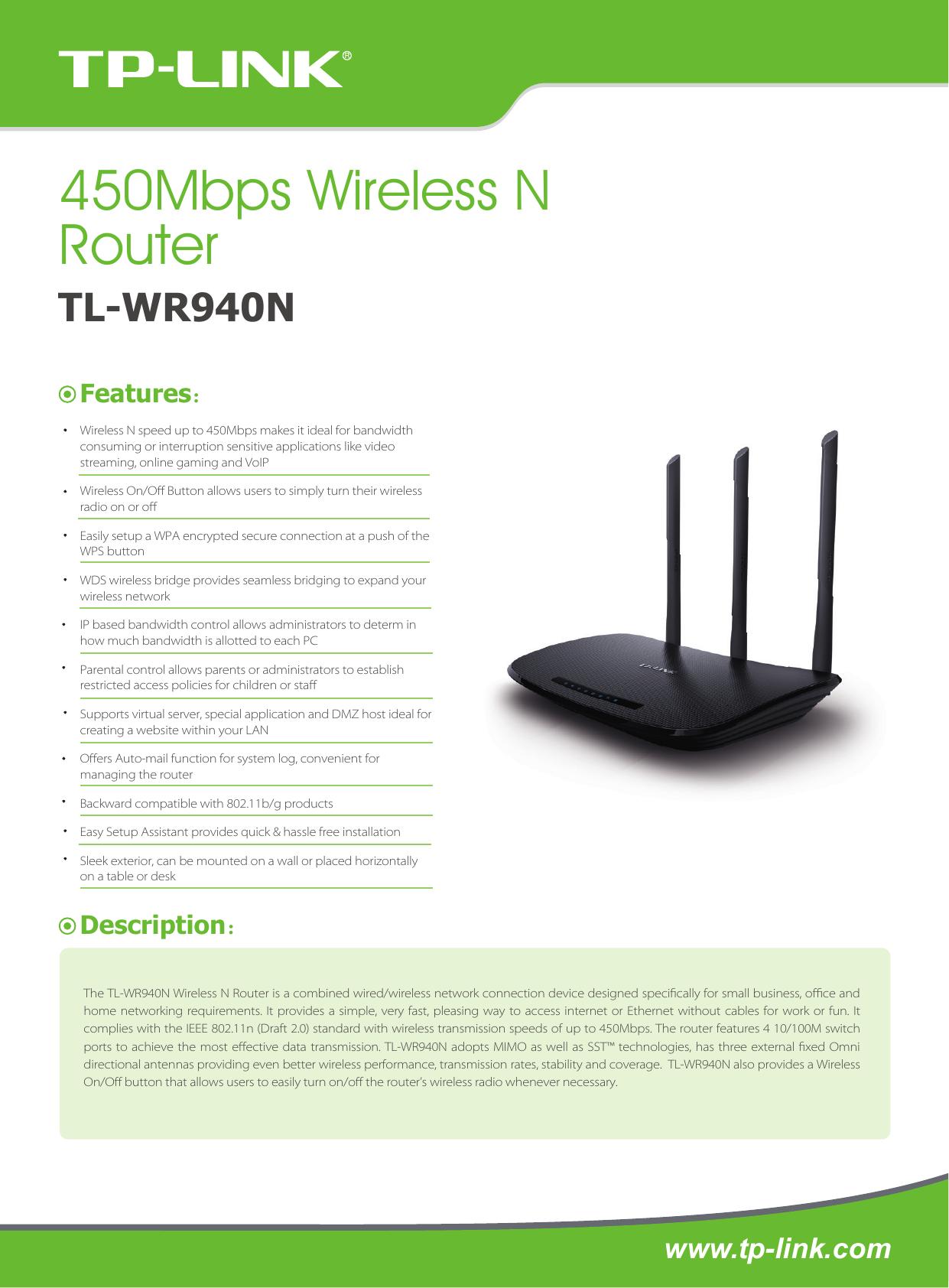 Tp Link Tl Wr940n V3 Data Sheet 30 2 Wireless Router 450mbps