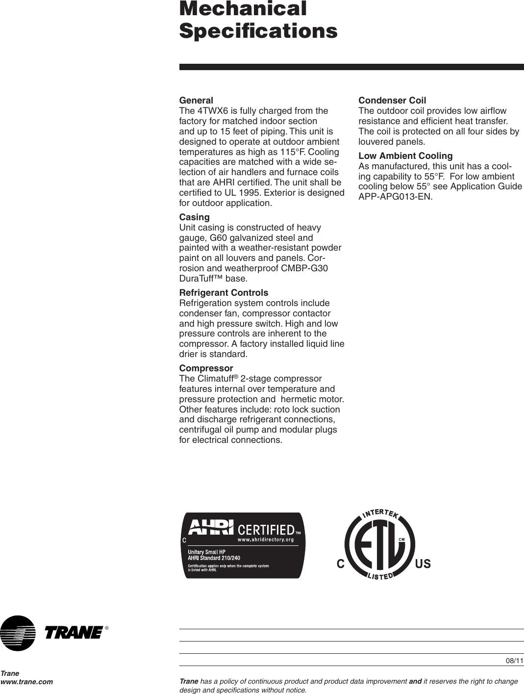Trane 36 Users Manual 22 1754 17 08/01/2011 Split System Heat Pump ...