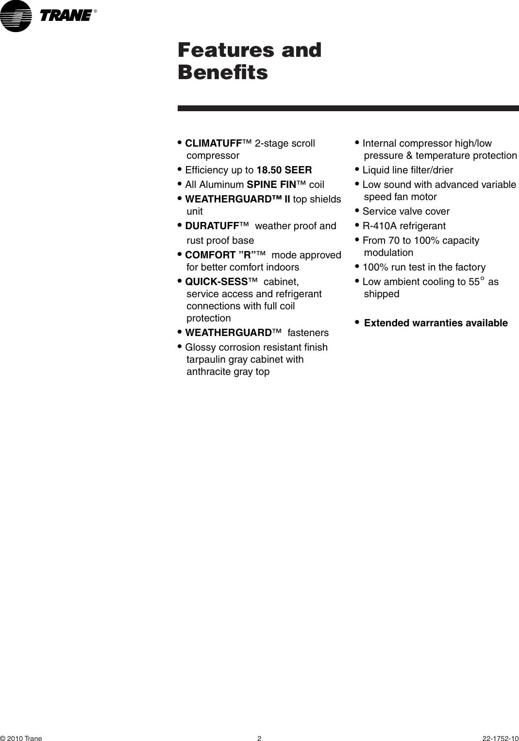 Trane 4Ttx6024 036 048 And 060E Users Manual 22 1752 10 10