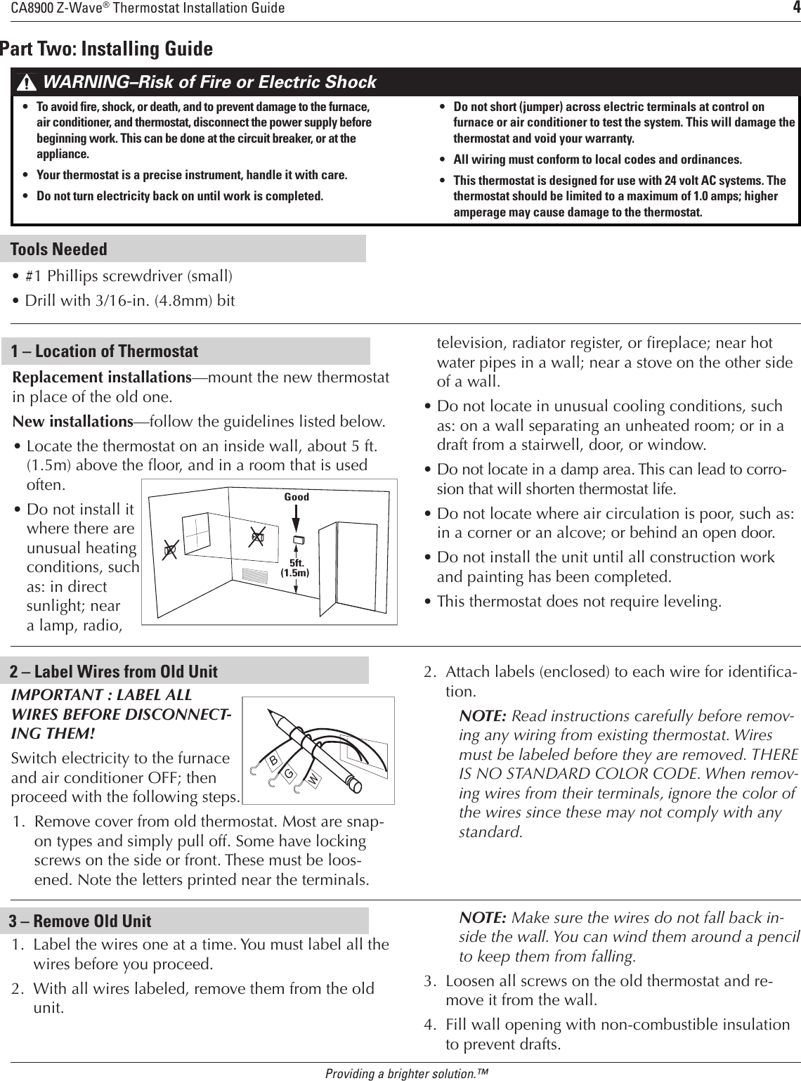 Trane Ca8900 Users Manual Thermostat Wiring Guide Page 4 Of 11