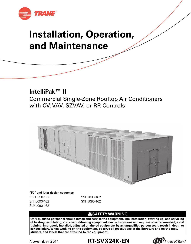 Trane Intellipak Ii 90 To 162 Tons Installation And