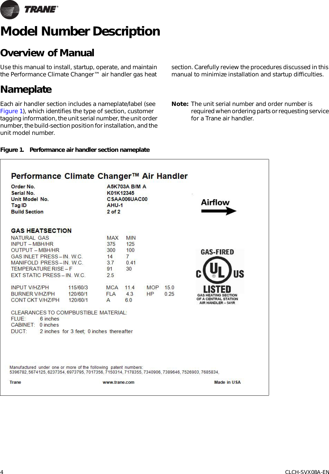 Trane Performance Air Handlers Installation And Maintenance Manual