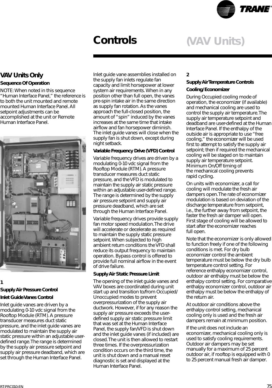 Trane Rt Prc010 En Users Manual