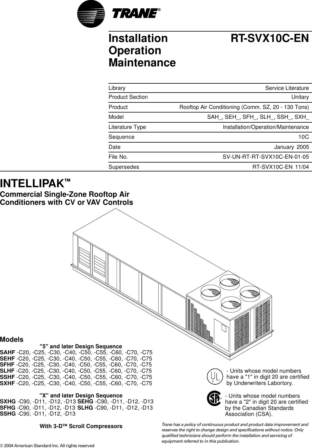 Trane Rt Svx10c En Users Manual Fenwal Ignition Module Wiring Diagram Hvac