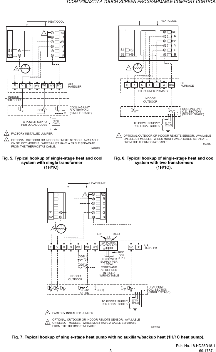 Trane Tcont800as11aa Users Manual 69 1787 Touch Screen Programmable Thermostat Wiring Guide Page 3 Of 12