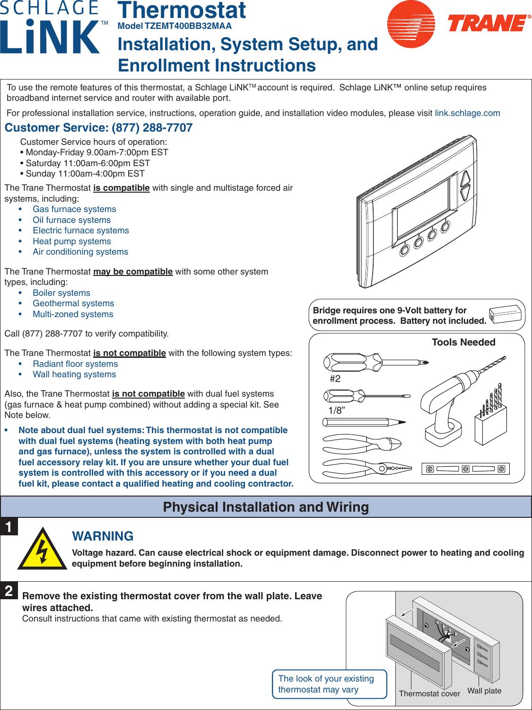 Trane Tzemt400Bb32Maa Users Manual