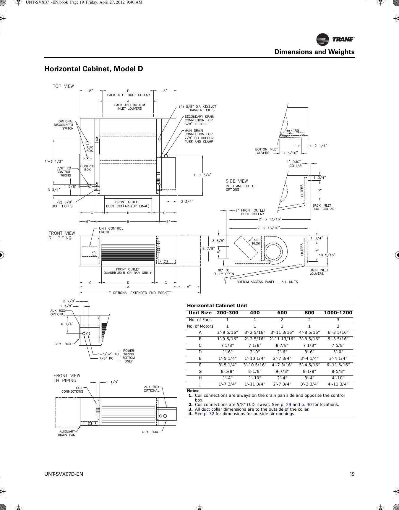 trane uni fan coil and force flo installation maintenance  uc400 trane wiring diagram #9