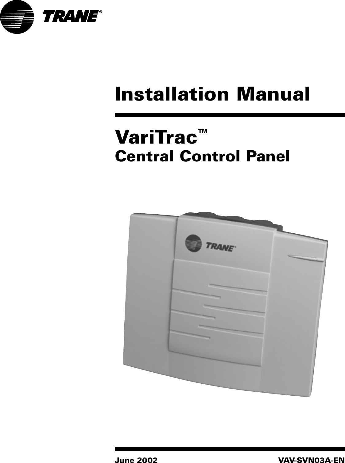 Trane Varitrac Dampers Installation And Maintenance Manual