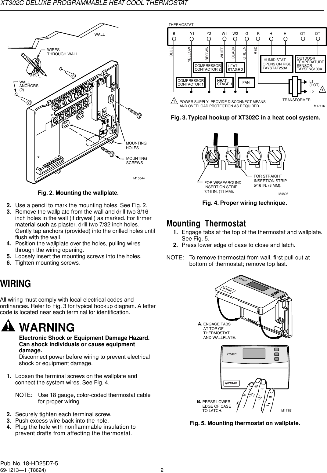 Trane Xt302c Users Manual 69 1213 Deluxe Programmable Heat