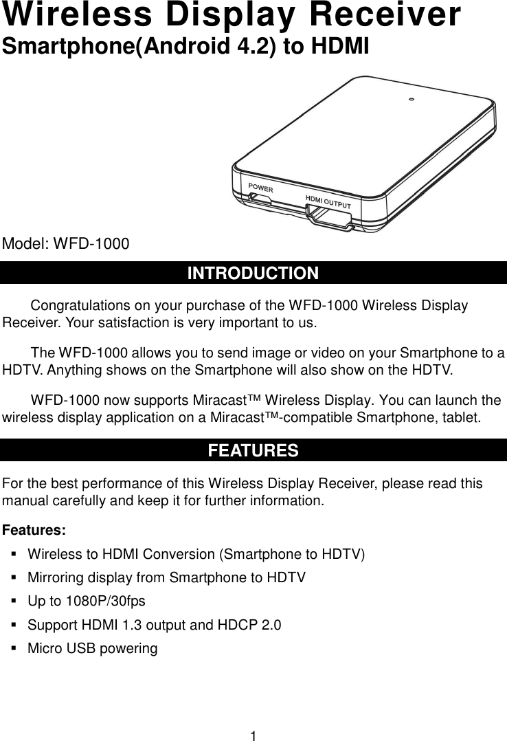 Trans Electric WFD1000 Wireless Display Receiver, Miracast Wireless