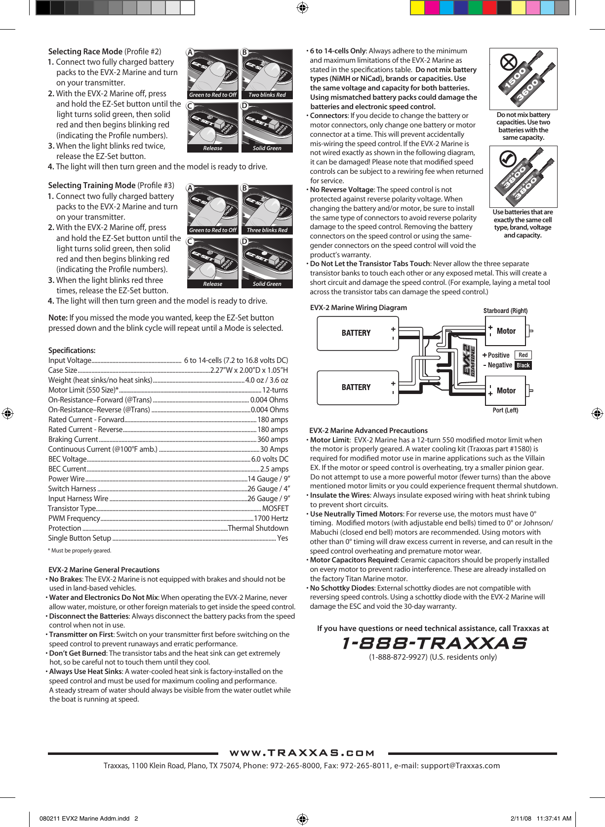 Traxxas Printer Evx 2 Users Manual Wiring Diagram Page Of