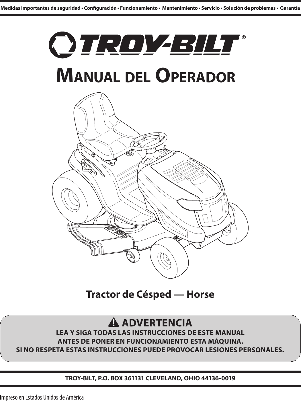 Troy Bilt Horse Xp Lawn Tractor Users Manual