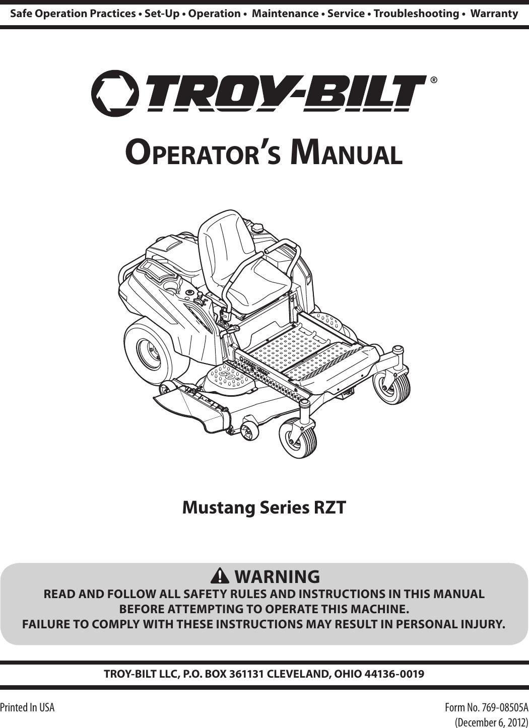 Troy Bilt Rzt Users Manual