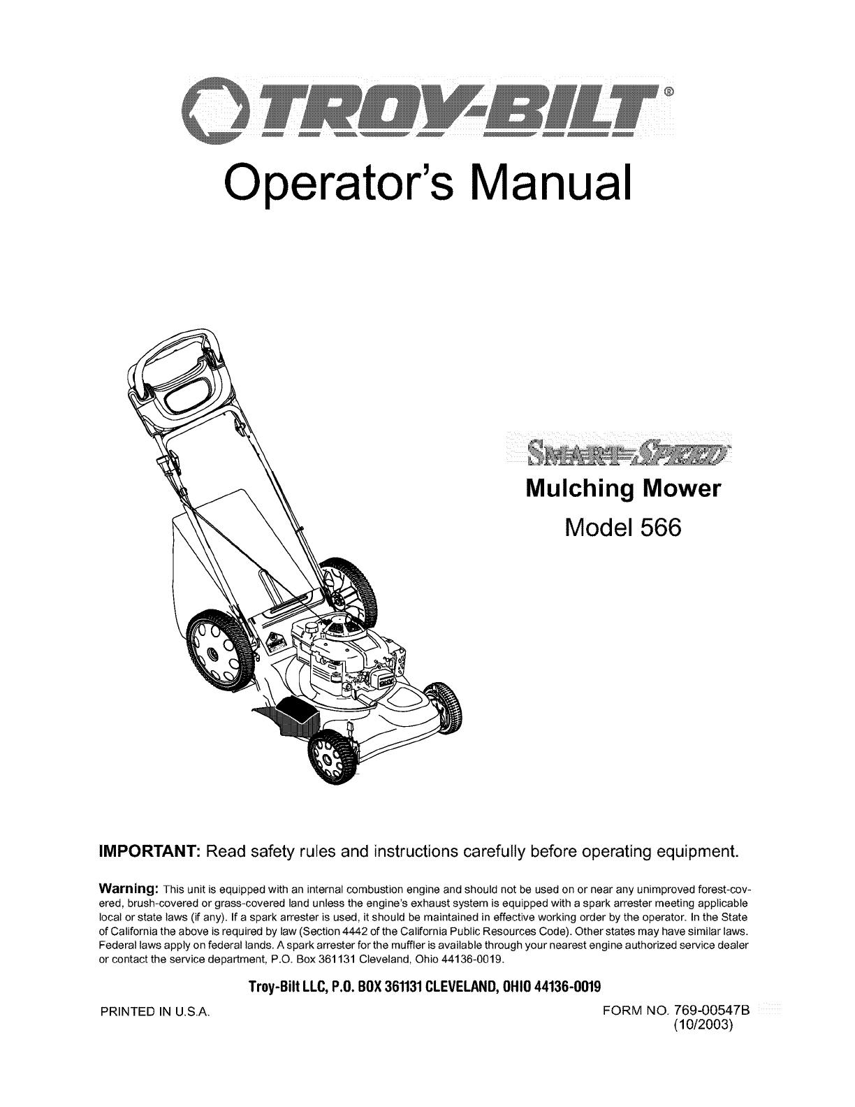 Troybilt 12AD566N711 User Manual LAWN MOWER Manuals And