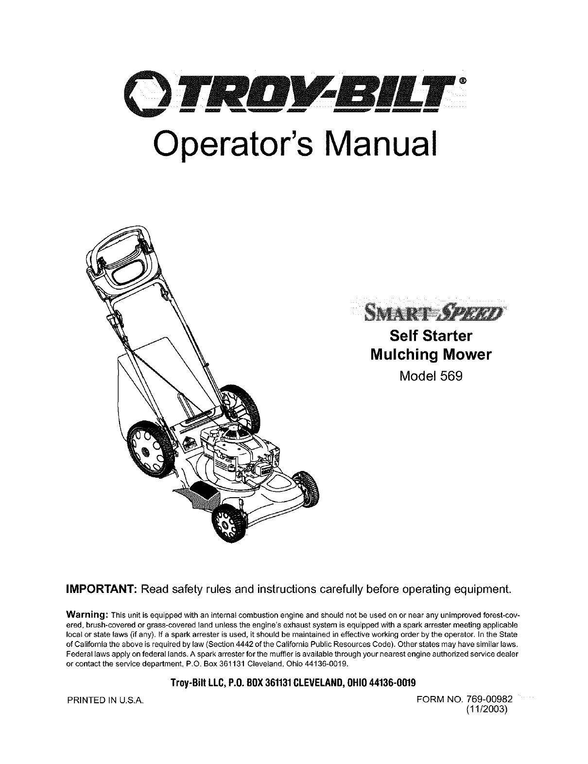 troy built mowers manuals