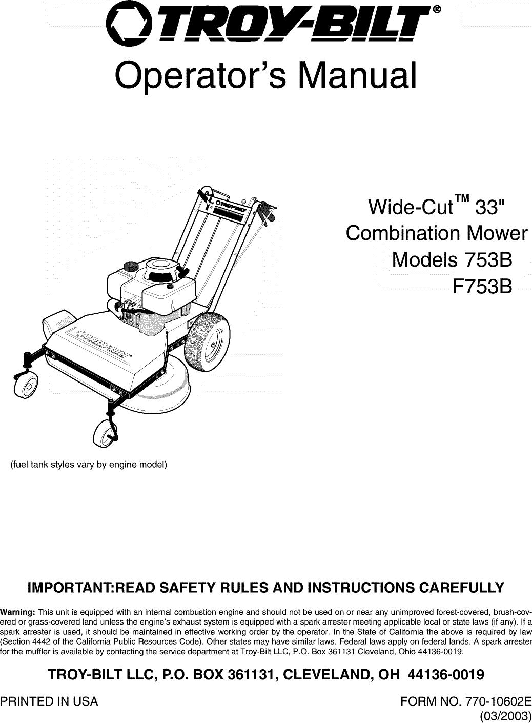 troy bilt engine diagram troybilt 12af753b063 user manual mower manuals and guides l0404261 troy bilt 208cc engine diagram troybilt 12af753b063 user manual mower