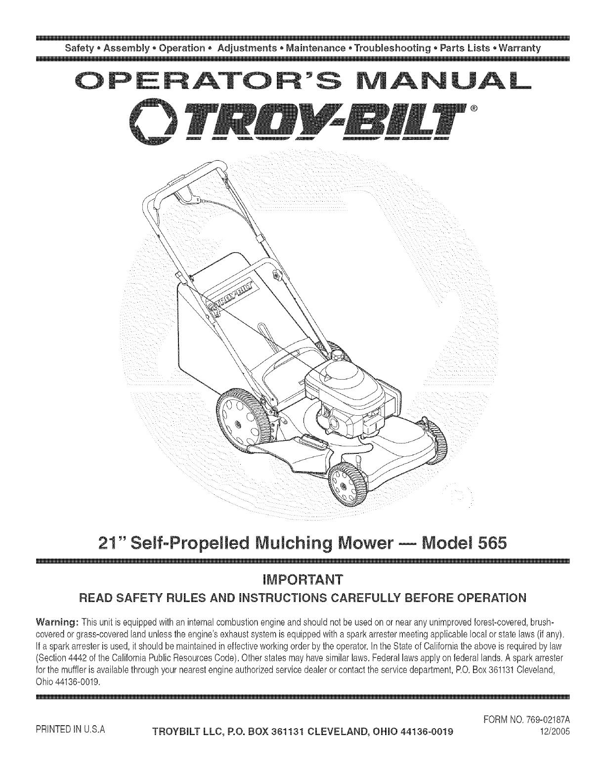 troy bilt engine wiring diagram troybilt 12av565q711 user manual mower manuals and guides l0602165  12av565q711 user manual mower manuals