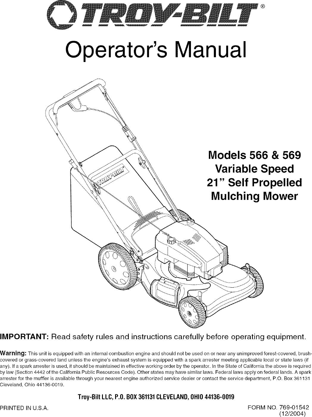 Troybilt 12AV566N711 User Manual LAWN MOWER Manuals And