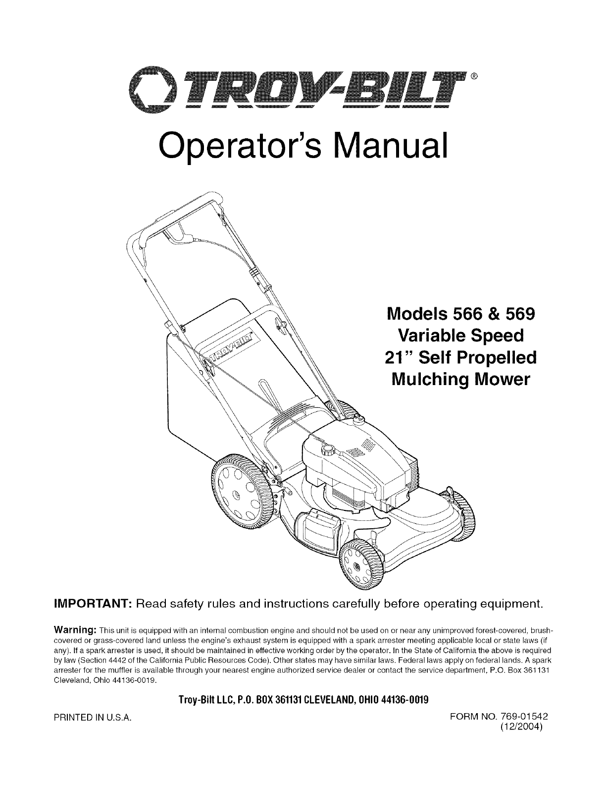 Troybilt 12AV566N711 User Manual LAWN MOWER Manuals And