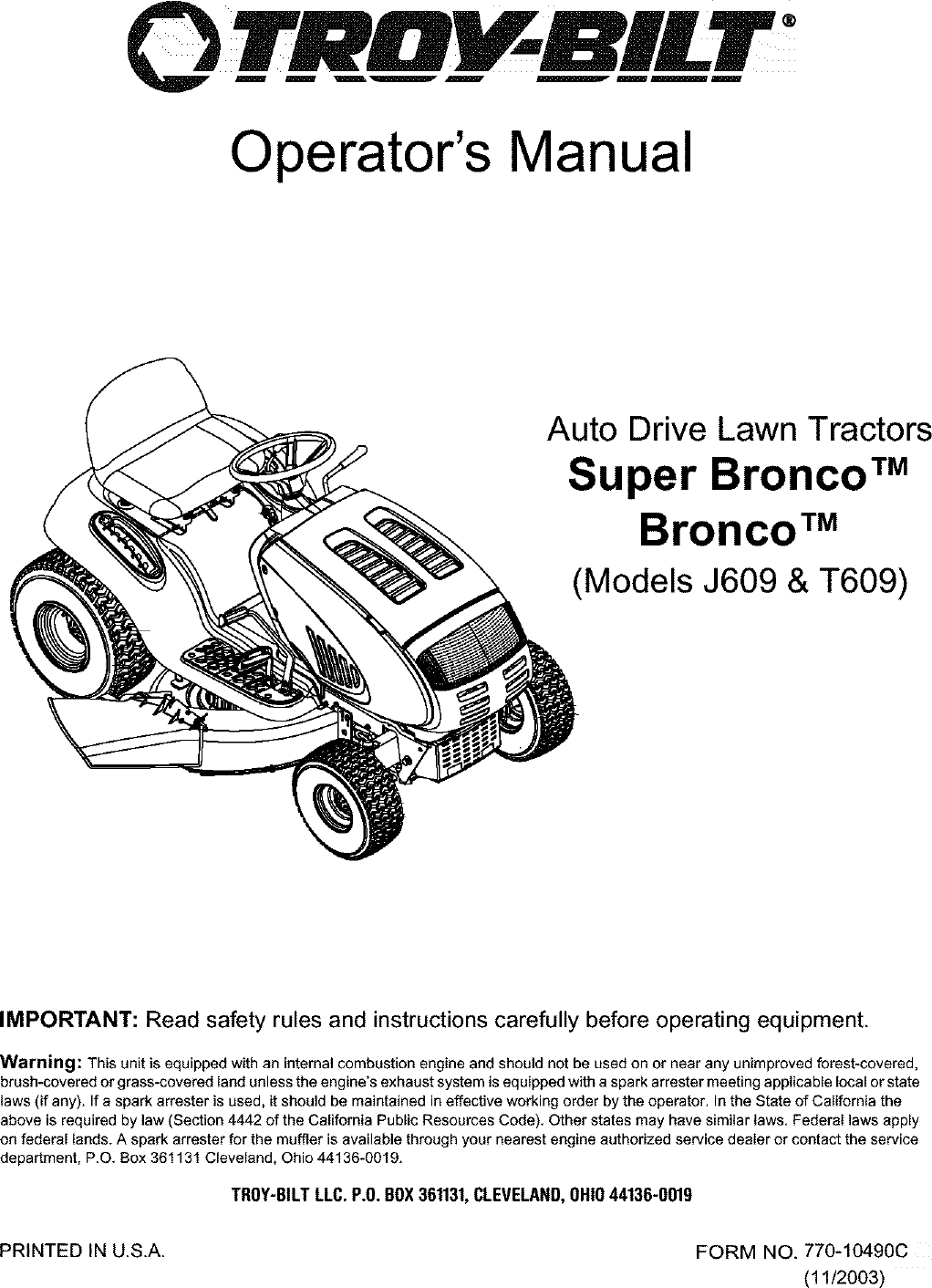 Troybilt 13AJ609G766 User Manual LAWN TRACTOR Manuals And