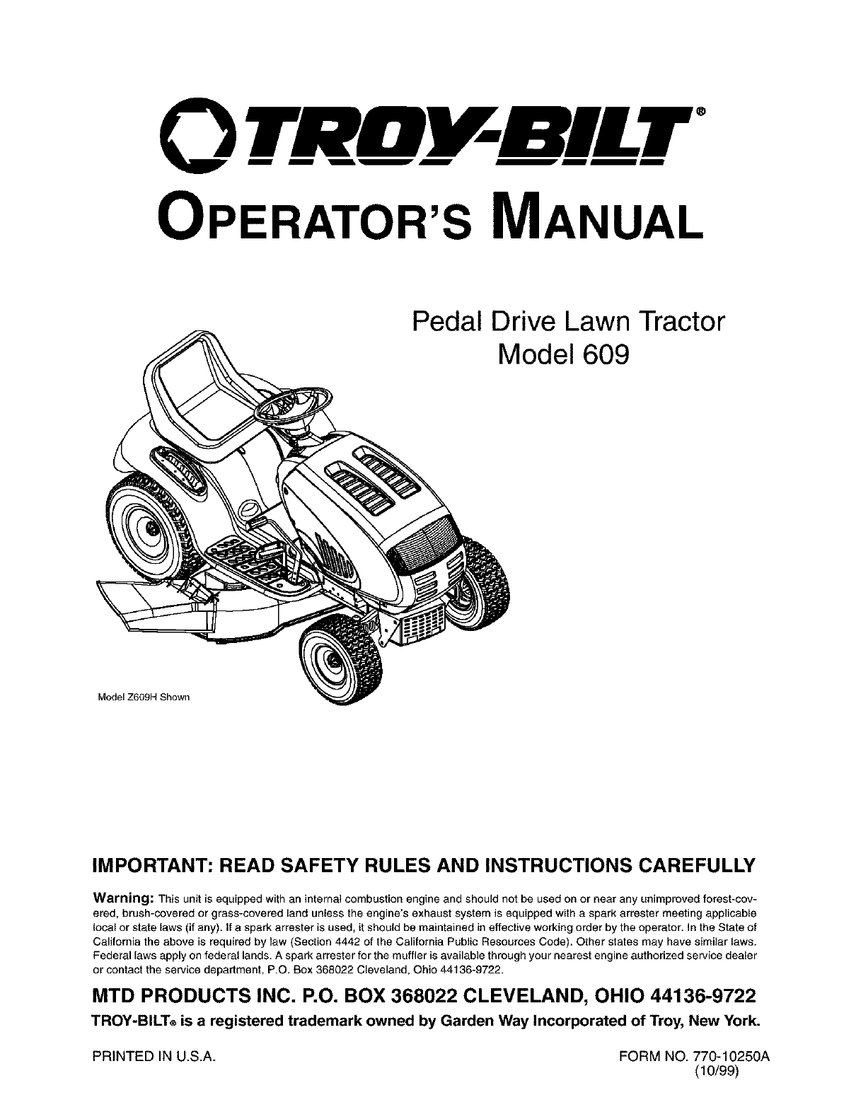Troybilt 13AQ609G063 User Manual LAWN TRACTOR Manuals And Guides