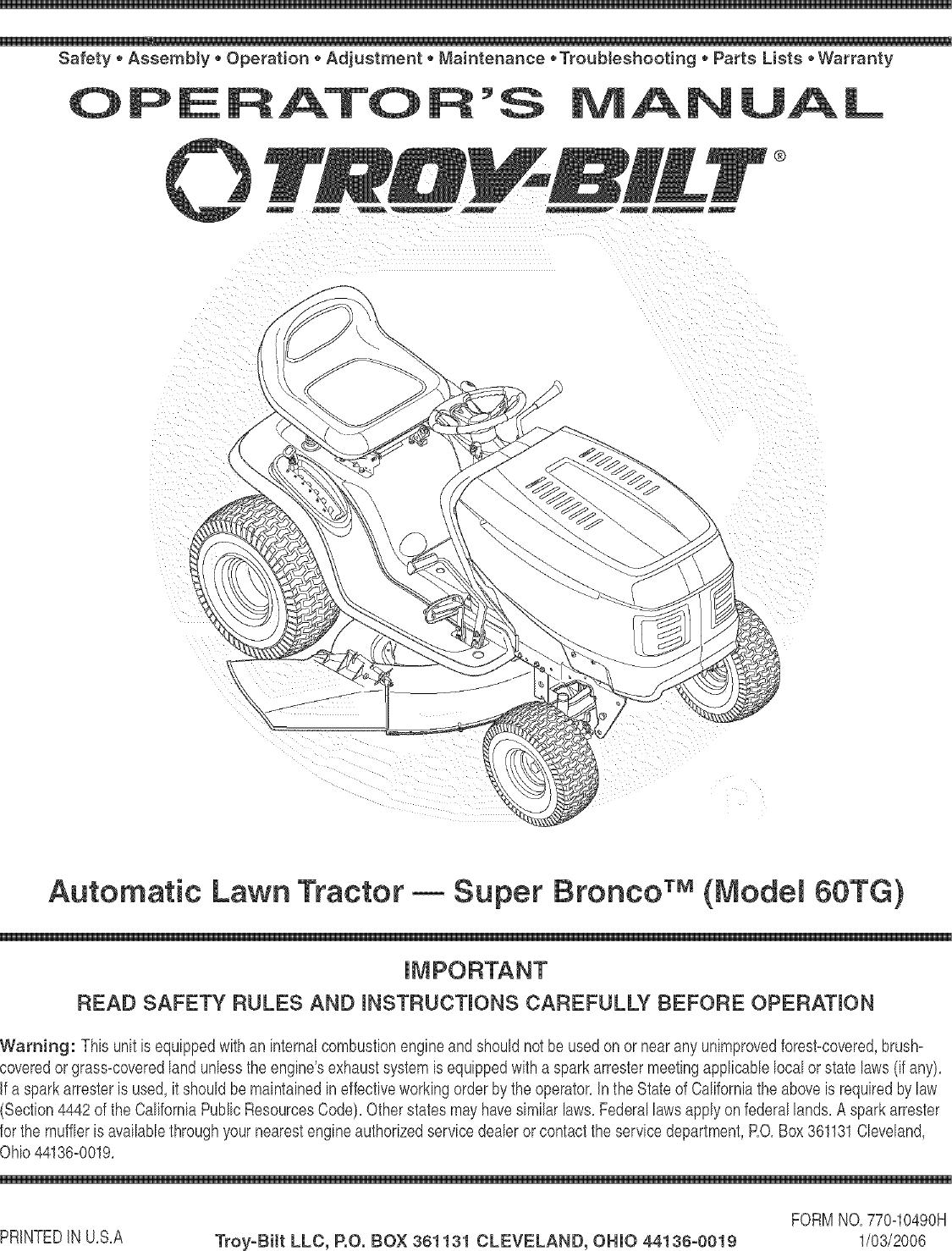 34 Troy Bilt Super Bronco Belt Diagram