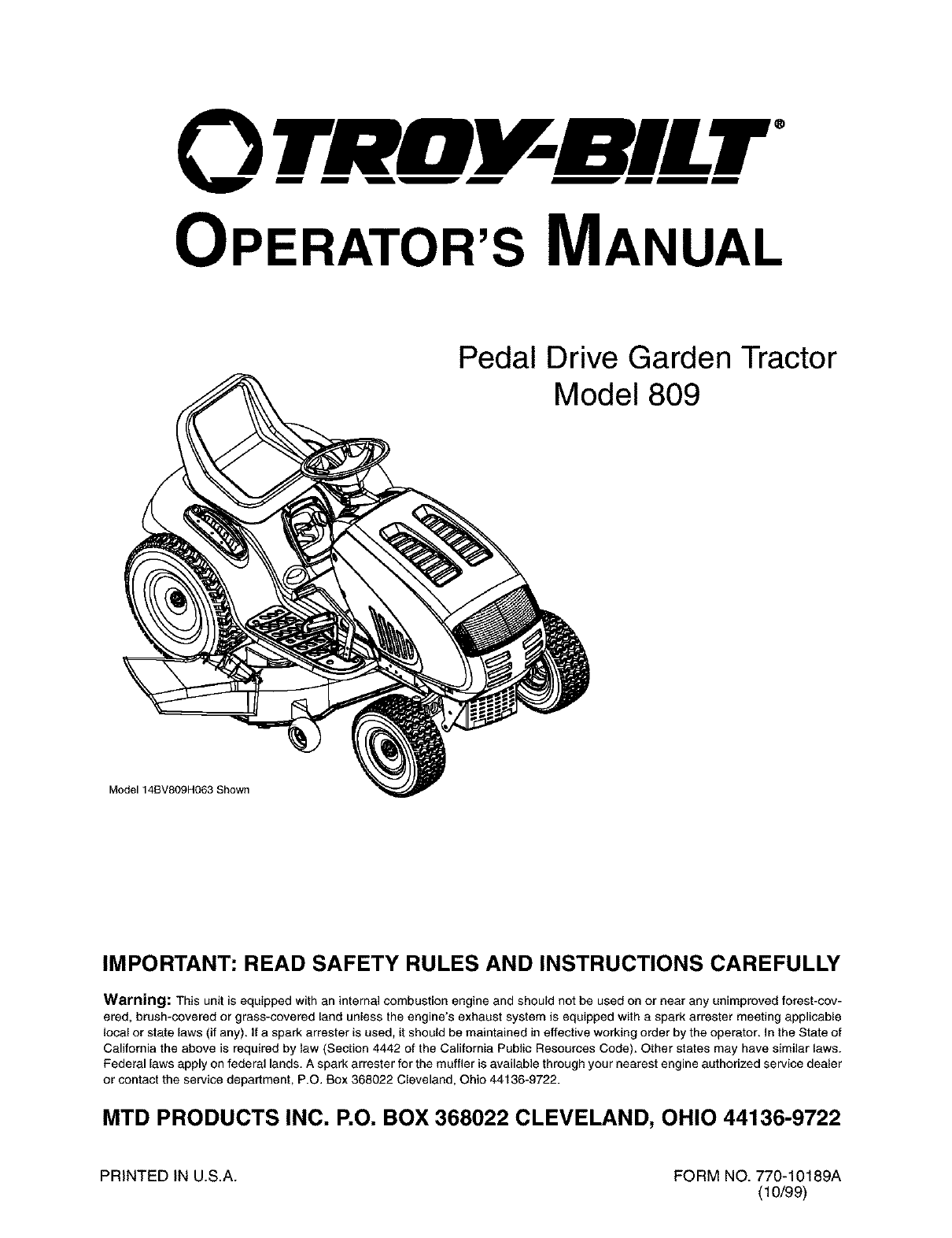 J26 Troy Bilt Wiring Diagram Starting Know About Mtd Manual Troybilt 14ay809p063 User Garden Tractor Manuals And Guides Rh Usermanual Wiki