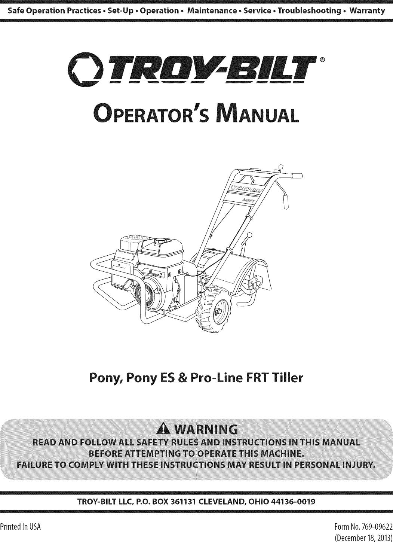 Troy Bilt Pony Tiller Parts Diagram